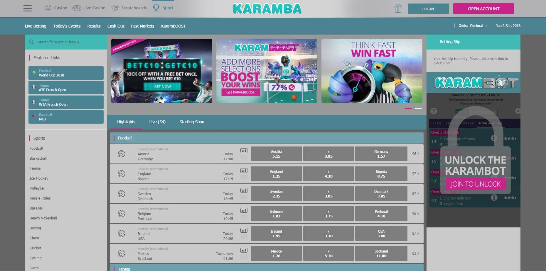 karamba sports market options