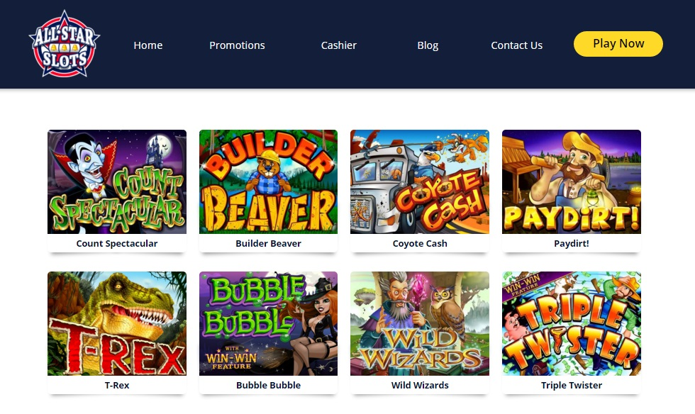 list of all online casino games