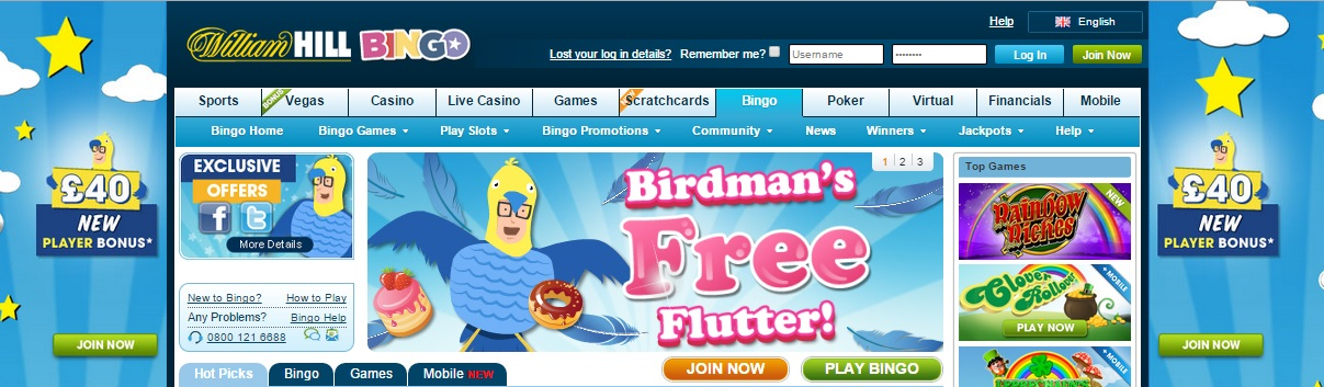 william hill bingo bonus code exclusive