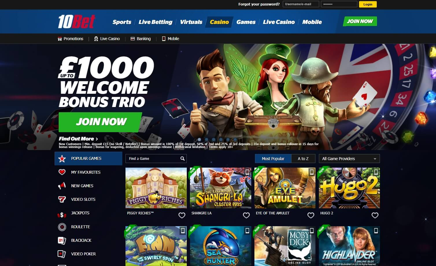 10bet casino games and slots
