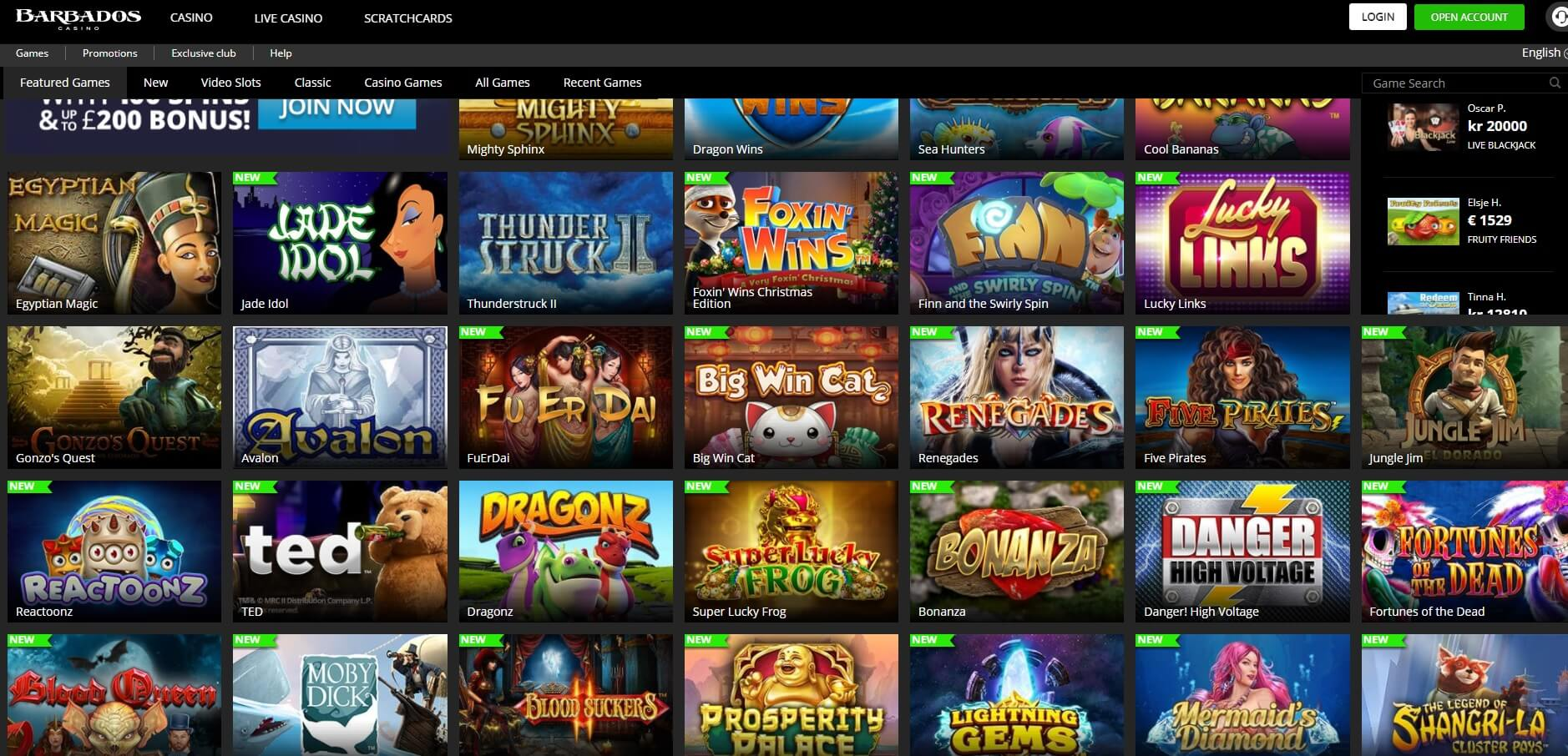barbados casino games and slots screen