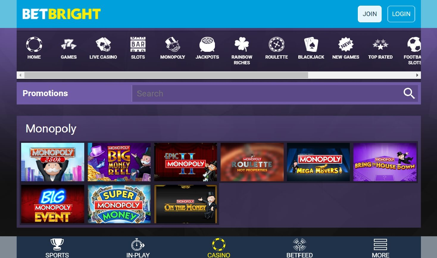 betbright casino games monopoly options