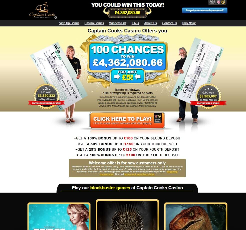 captain cook casino bonus codes