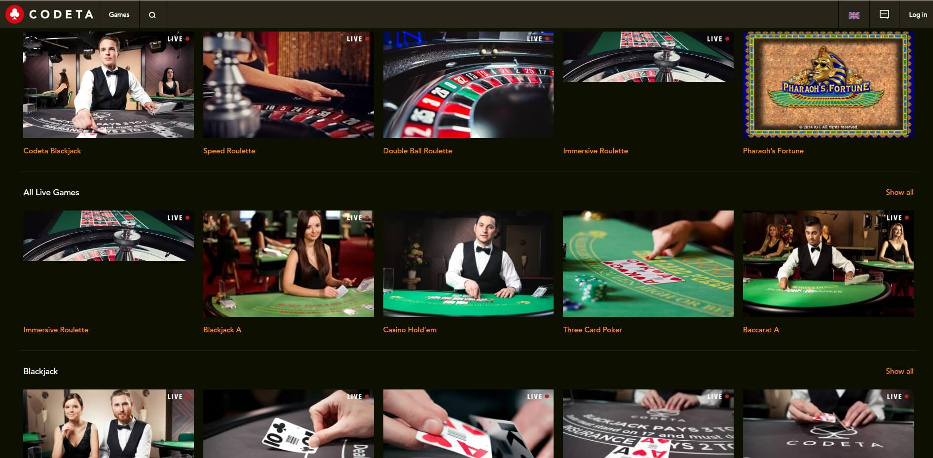 codeta casino games live