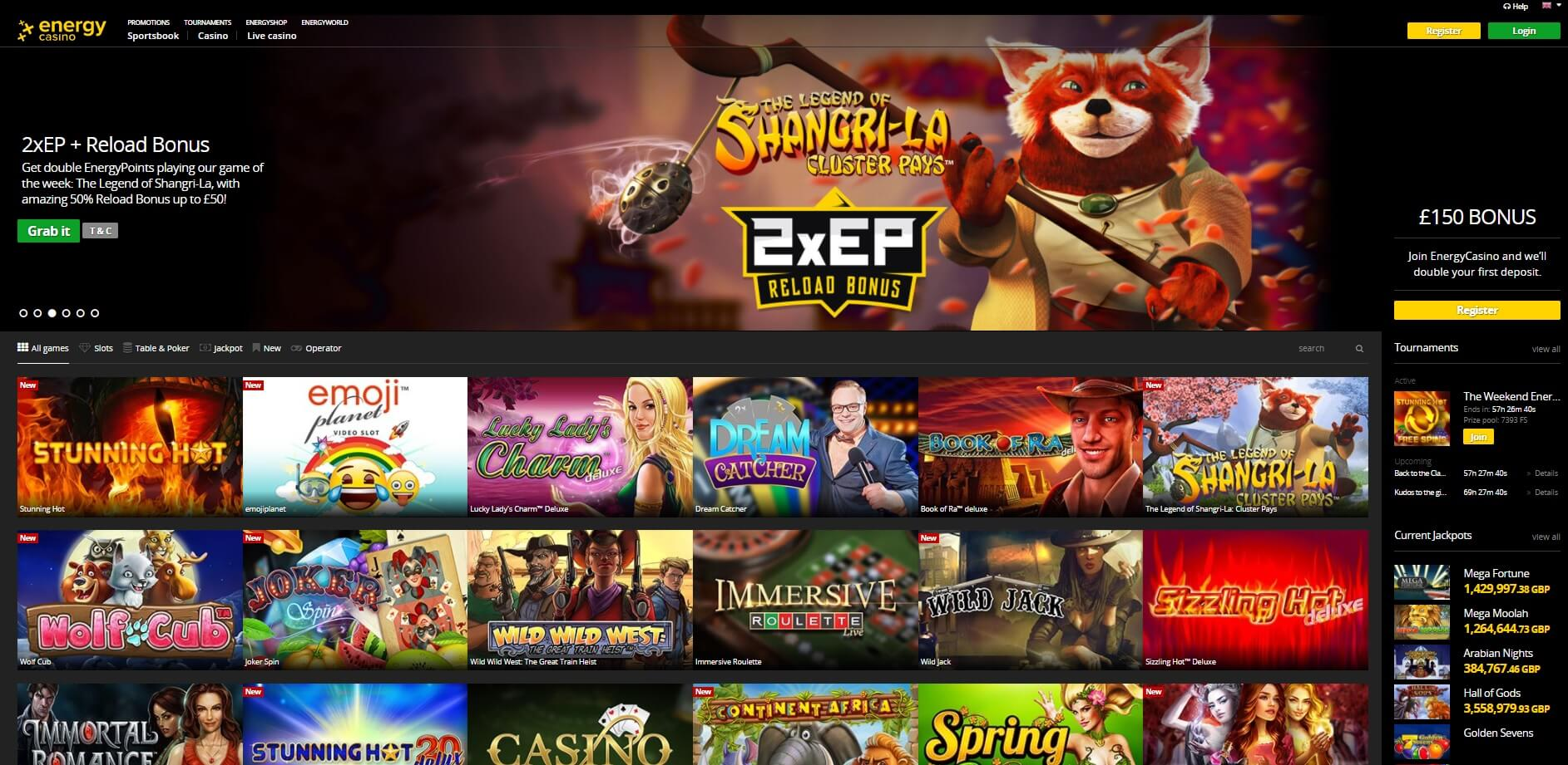 energy casino games and slots