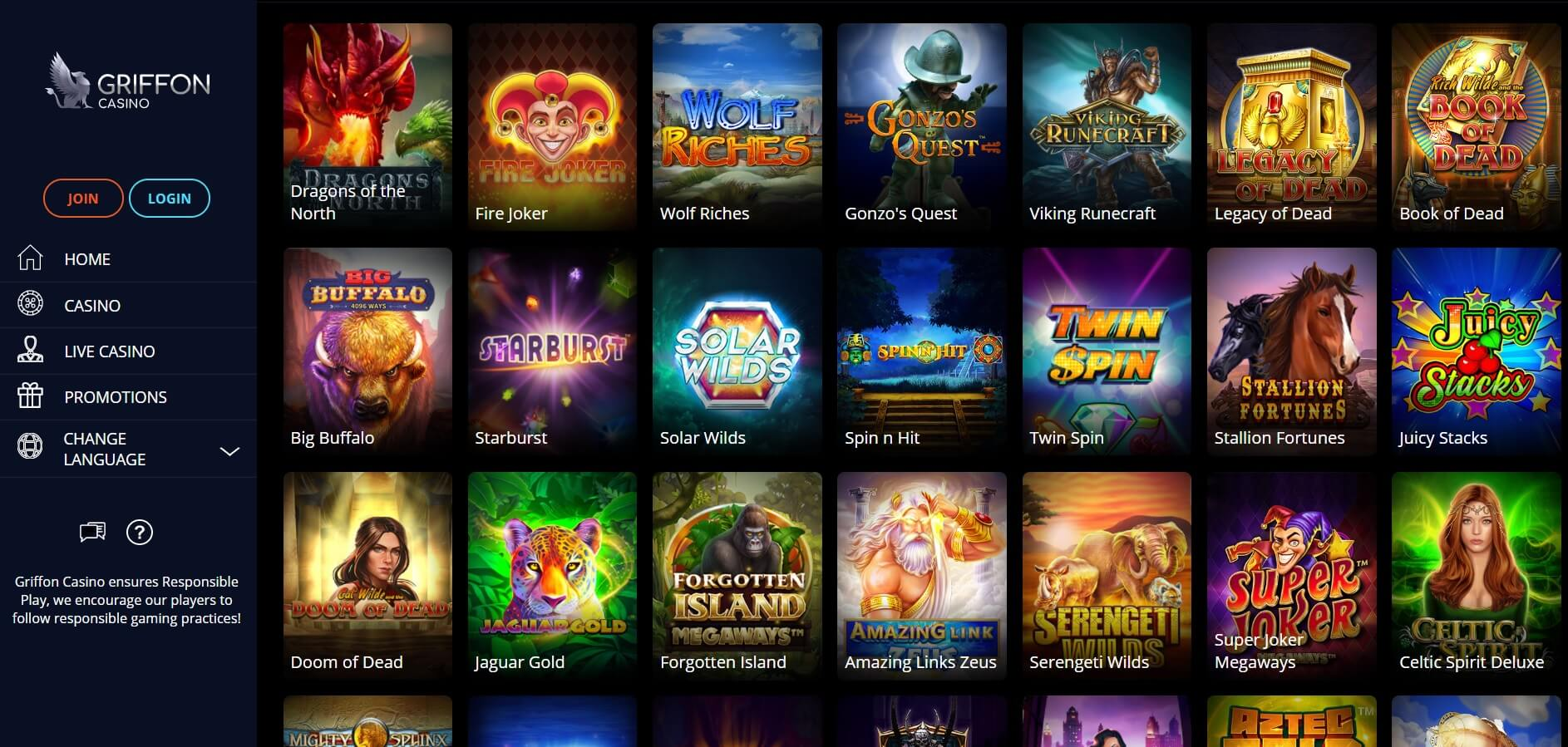 griffon casino games