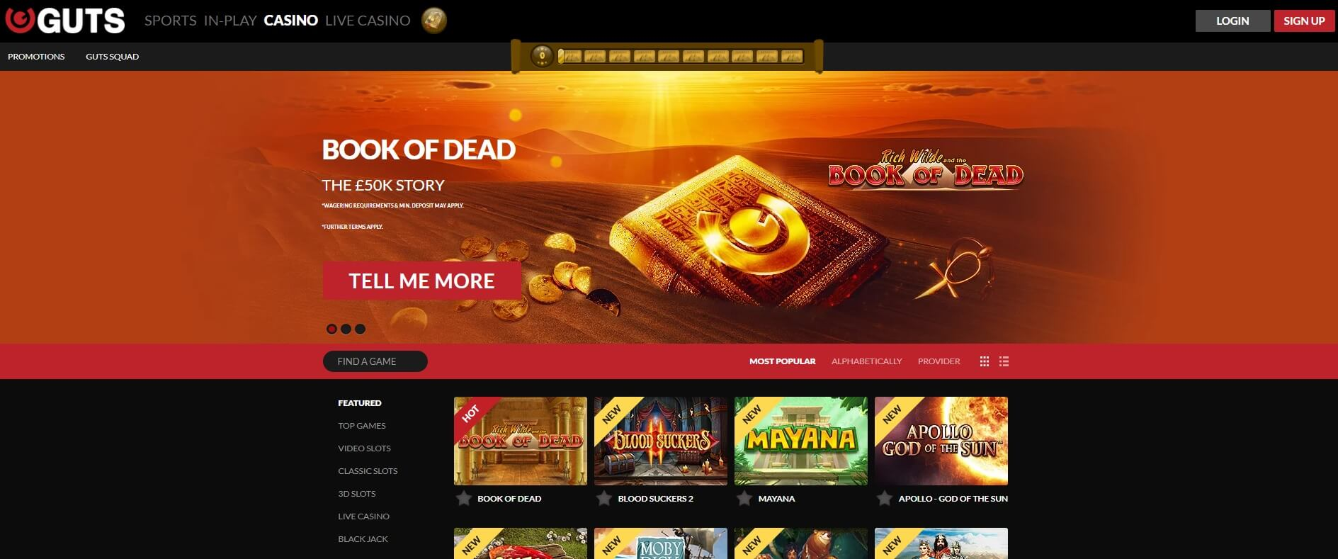 guts casino games and slots