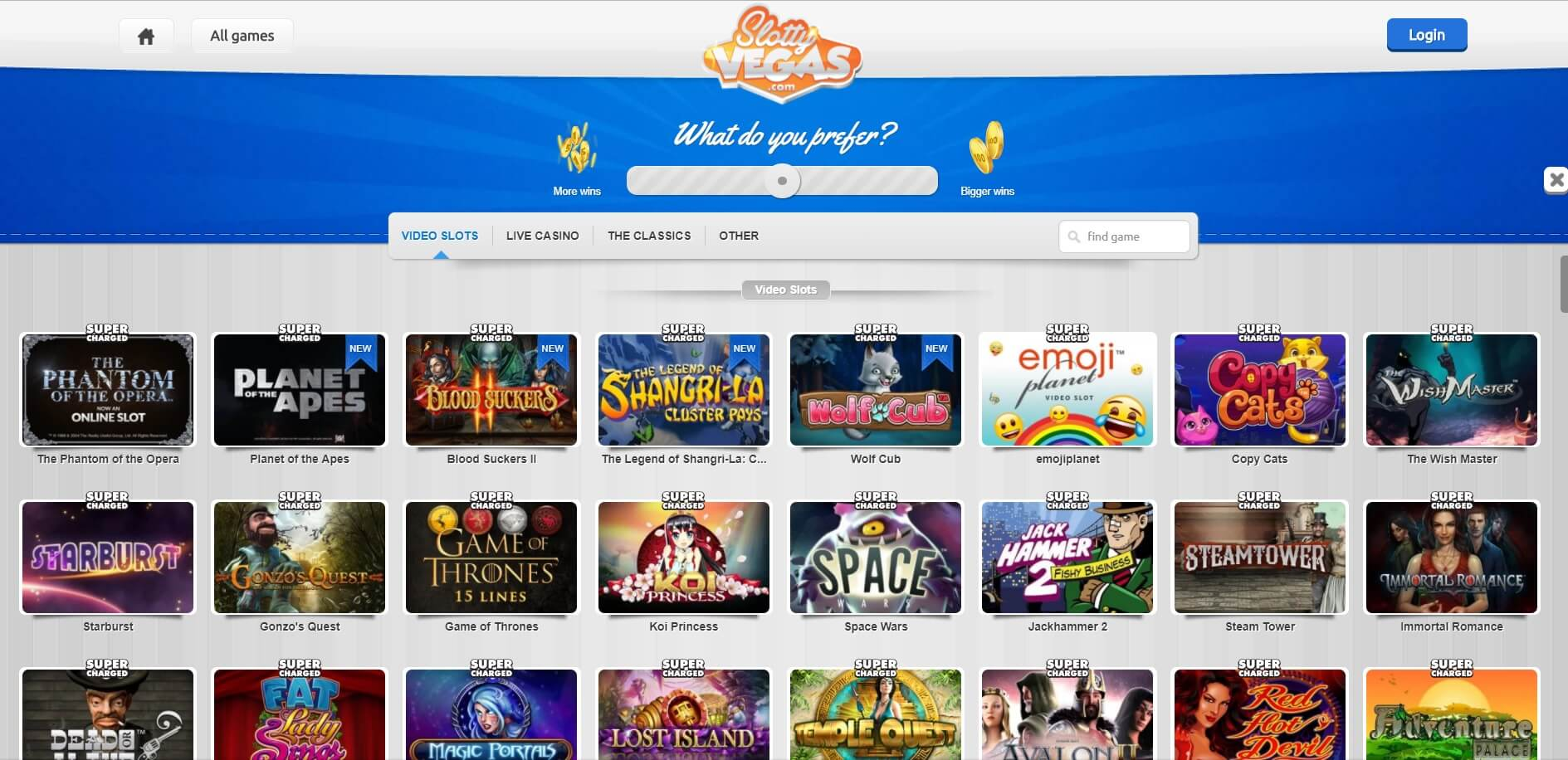 slotty Vegas casino and slots selection
