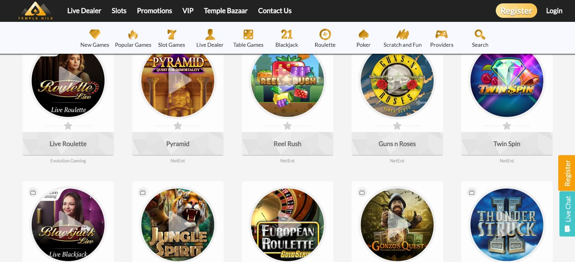 temple nile games and slots