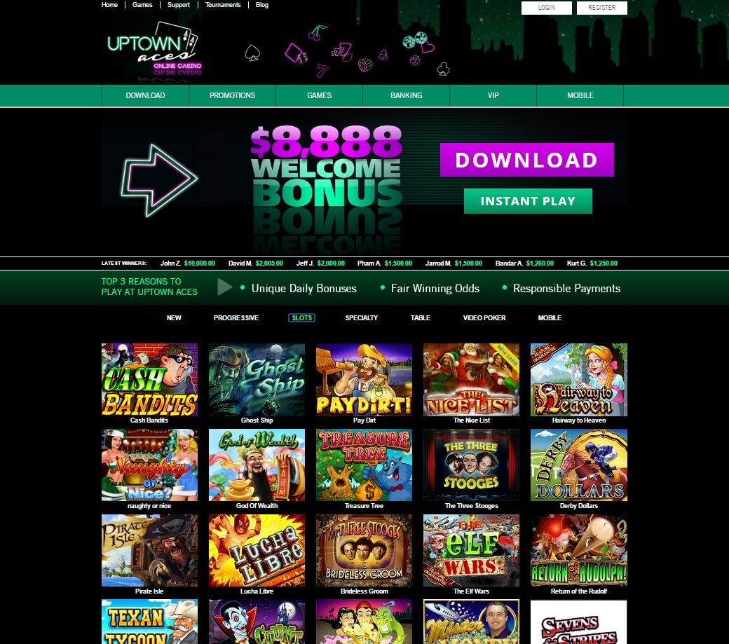 uptown aces casino games and slots