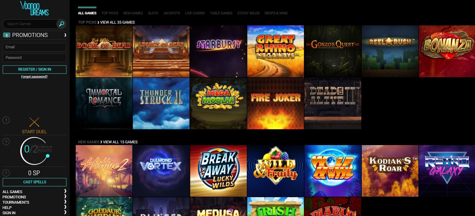 voodoo dreams casino review games slots