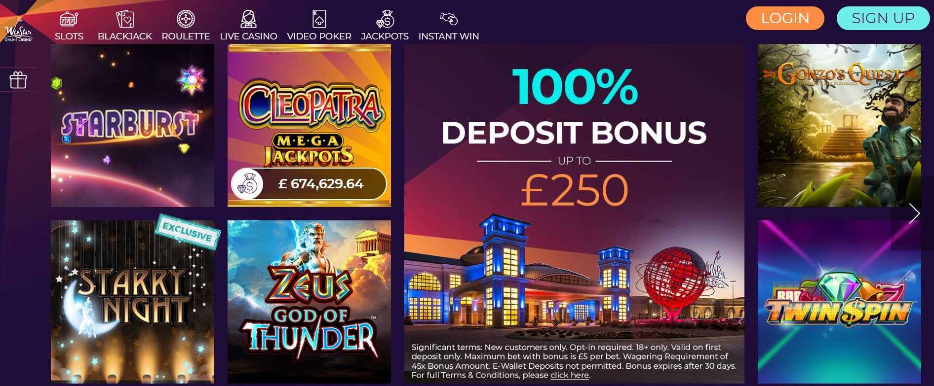 winstar casino games and slots screen shot