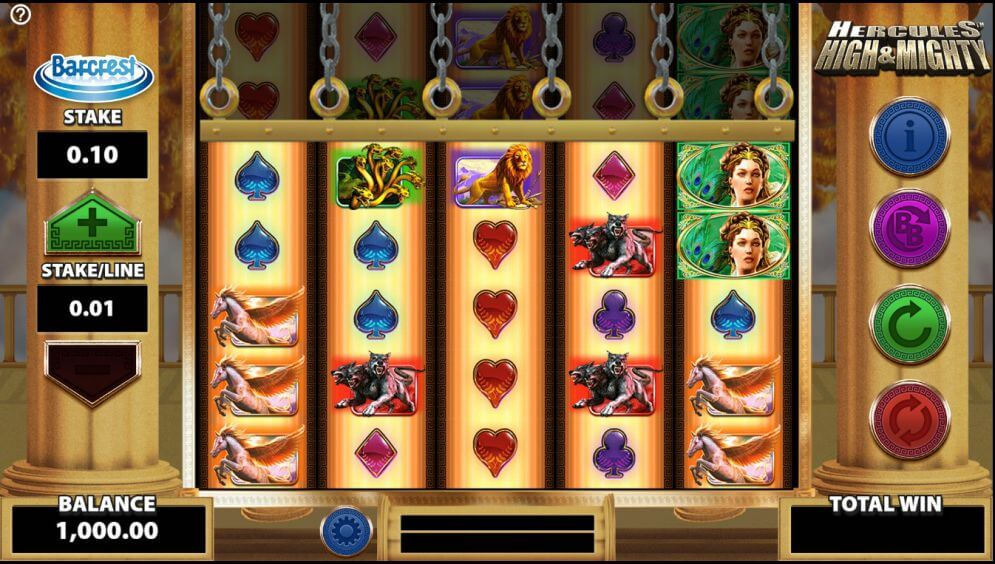 hercules high and might slot machine online
